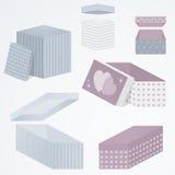 设置3d包装在不同的观点、形状和样式,例证的礼物盒 库存图片