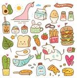 设置kawaii乱画、食物、动物和其他对象 向量例证