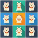设置Maneki-neko猫平 图库摄影