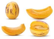 设置pepino瓜果子整个,切片,四分之三 库存图片