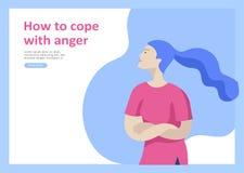 设置psyhology精神疾病的,消沉惊恐发作,偏执狂愤怒控制登陆的页模板 库存例证