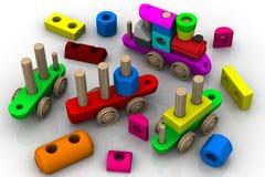 建设者玩具 戏弄木的培训 库存例证
