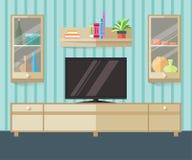 设计一个平的样式的电视区域 有家具、电视和架子的内部客厅 也corel凹道例证向量 免版税图库摄影