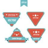 设计三角标签红色和蓝色彩色组 库存例证