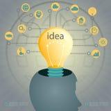 设计与一个人头和一个发光的电灯泡的剪影 库存图片