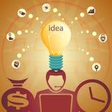 设计与头、电灯泡和美元的符号的剪影, 免版税库存照片