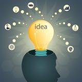 设计与头和一个电灯泡,激发灵感的剪影, 库存照片