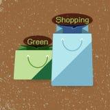 设计元素购物袋有纸背景 皇族释放例证