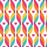 设计元素-与小心脏的五颜六色的波浪 库存例证