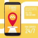 设计出租汽车服务app横幅在黑智能手机屏幕上的  库存照片