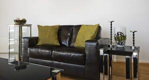 设计员皮革沙发 免版税库存照片