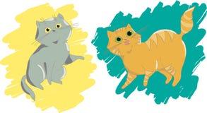 设计和打印的在T恤杉,贴纸ect逗人喜爱的猫 向量例证