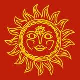设计在斯拉夫人样式,酥油设计,太阳保护的太阳 也corel凹道例证向量 免版税图库摄影