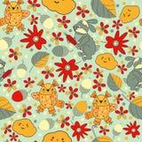 设计在自然题材的无缝的样式  花、叶子、猫头鹰和兔子 免版税库存图片