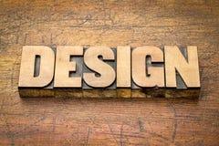设计在活版木头类型的词摘要 库存图片