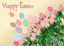 设计复活节彩蛋被绘的模式 空白美丽的花 玫瑰 免版税图库摄影