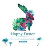 设计复活节快乐的模板横幅 兔子,草本,植物装饰剪影与花卉 方形的卡片 皇族释放例证