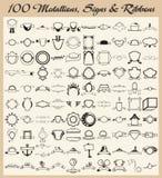 设计大奖章准备好的丝带符号乙烯基 免版税库存照片