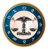 设计天秤座签署纹身花刺黄道带 免版税库存图片
