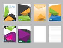 设计封面纸报告 抽象几何传染媒介模板 免版税库存图片