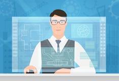 设计工作使用真正媒介接口工作区的人 设计与大厦计划虚屏图画一起使用 免版税图库摄影