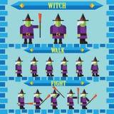 设计巫婆的平的万圣夜比赛字符 库存照片