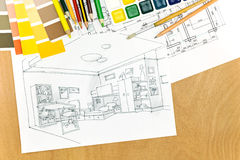 设计师书桌的工作环境 免版税库存图片