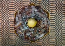 设计师做了圣诞节花圈,构成由云杉的锥体做成 库存照片