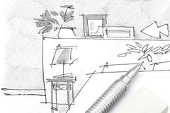 设计师卧室家具手图画有铅笔和橡皮擦的 免版税库存照片