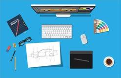 设计师工作场所 有工具的以图例解释者桌面 向量例证