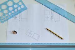 设计师工作站和元素 库存图片
