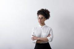 年轻设计师摆在 免版税库存图片