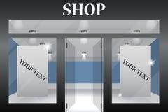 设计您空的eps10外部前介绍产品界面的商店窗口 外部水平的窗口为您的商店产品介绍倒空或设计 Eps10向量 免版税库存照片