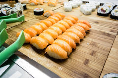 设计有用要素菜单餐馆三文鱼的寿司非常 图库摄影