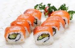 设计有用要素菜单餐馆三文鱼的寿司非常 免版税图库摄影