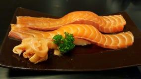 设计有用要素菜单餐馆三文鱼的寿司非常 免版税库存照片
