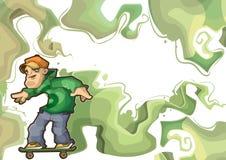 设计框架绿色执行的溜冰者特技 库存图片