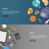 设计模板办公室和学校的网横幅 免版税库存图片