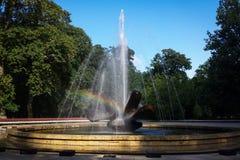 设计欧洲喷泉您彩虹的使用 免版税库存照片