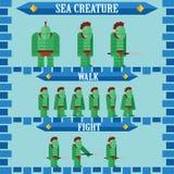 设计海生物的平的万圣夜比赛字符 库存图片