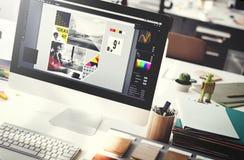 设计演播室创造性想法木调色板装饰概念 免版税图库摄影