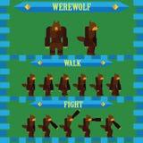 设计狼人的平的万圣夜比赛字符 免版税库存图片