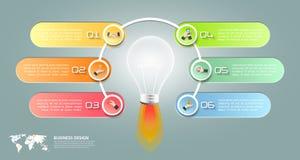 设计电灯泡infographic 6个选择,企业概念 免版税库存图片