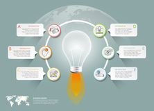 设计电灯泡infographic 6个选择, 免版税库存图片