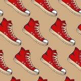 设计的传染媒介例证手拉的剪影红色运动鞋样式 免版税库存照片