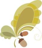 设计的向量要素 stylizd橡木叶子和橡子 颜色温暖 库存图片