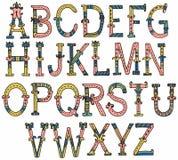 手拉的葡萄酒字母表 免版税库存图片