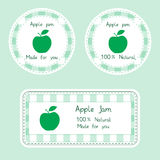 设计的果子汇集 自创自然苹果的标签在绿色阻塞 免版税图库摄影