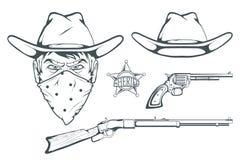 设计的牛仔集合 手拉的牛仔帽 狂放的西部减速火箭的步枪的漫画人物人和左轮手枪 警长` s徽章 库存照片