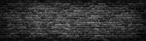 设计的黑砖墙全景背景 免版税库存图片